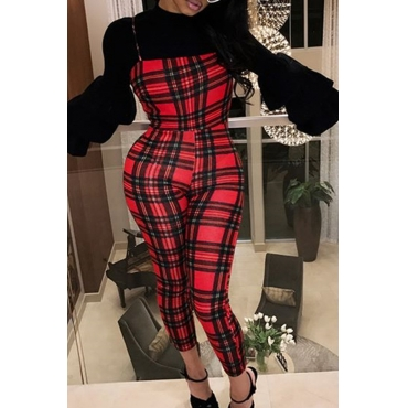Lovely Casual Grids Printed Wine Red One-piece Jumpsuit