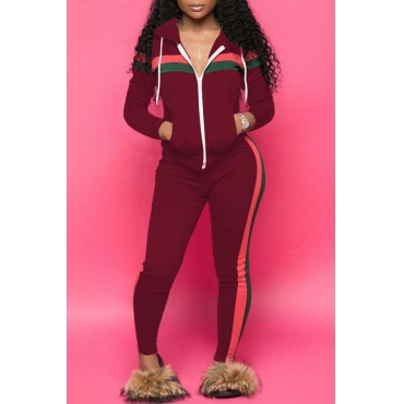 Lovely Casual Striped  Hooded Collar Wine Red  Blending Two-piece Pants Set