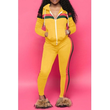 Lovely Casual Striped  Hooded Collar Yellow  Blending Two-piece Pants Set