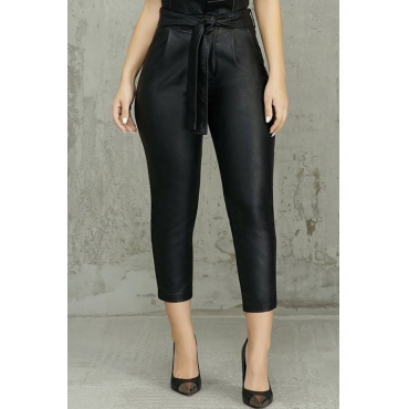 Lovely Trendy Lace-up Black PU Pants