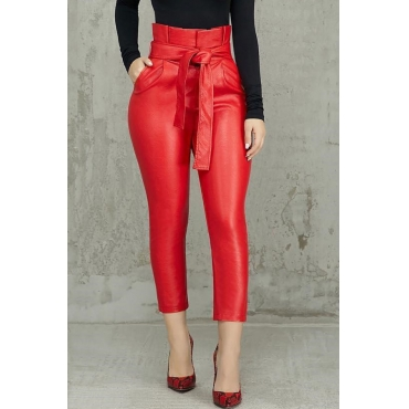 Lovely Trendy Lace-up Red  PU Pants