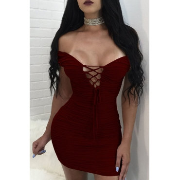 Lovely Sexy Skinny Lace-up Wine Red Blending Mini Dress