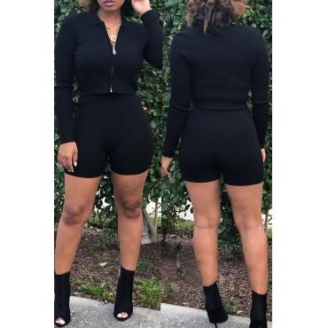 Lovely Casual Zipper Design Black Blending Two-piece Shorts Set
