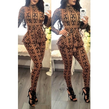 Lovely Casual Long Sleeves Plaids Yellow One-piece Jumpsuit