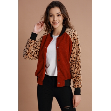Lovely Chic Patchwork Wine Red Jacket