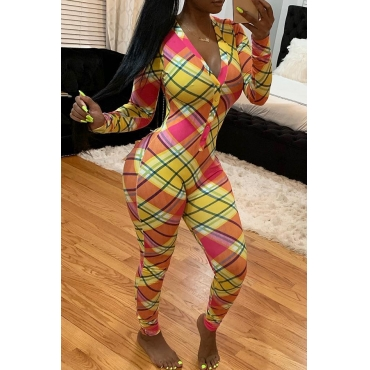 Lovely Casual Grids Printed Multicolor Twilled Satin One-piece Jumpsuit