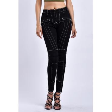 Lovely Casual Patchwork Black Denim Jeans