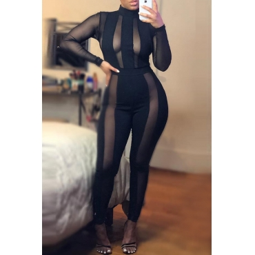 Lovely Trendy Patchwork Black Blending One-piece Jumpsuit