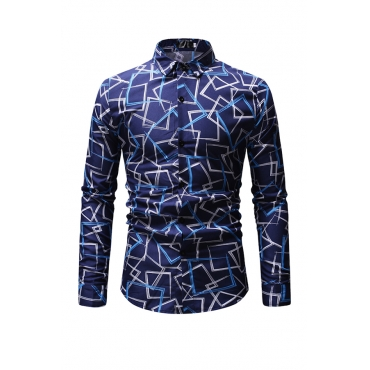 Lovely Trendy  Printed Blue Cotton Blends Shirt