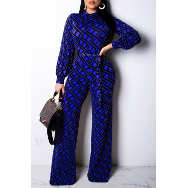 Lovely Trendy Printed Blue Blending One-piece Jumpsuit