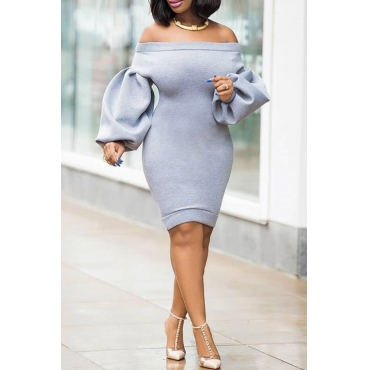 Lovely Trendy Puffed Sleeves  Grey Knee Length Dress