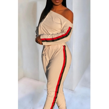 Lovely Trendy Patchwork Apricot Blending Two-piece Pants Set