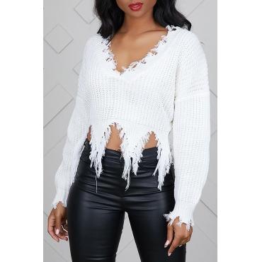 Lovely Casual Tassel Design  White Blending Sweaters