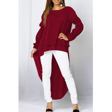 Lovely Casual Asymmetrical Wine Red Twilled Satin T-shirt