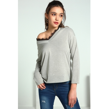 Lovely Trendy Parchwork Grey Cotton  Sweaters
