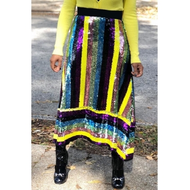 Lovely Trendy Patchwork Yellow Sequined Ankle Length Skirts