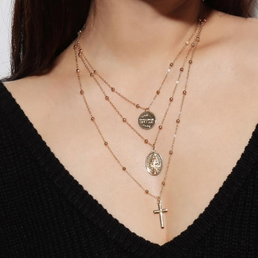 Lovely Trendy Layered Gold Crystal Necklace