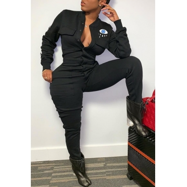 Lovely Trendy Printed Black Blending One-piece Jumpsuit