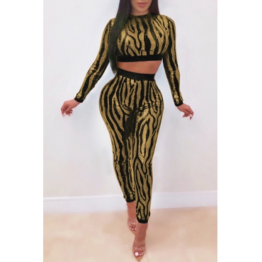 Lovely Sexy Patchwork Black Sequined Two-piece Pants Set