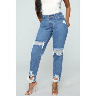 Lovely Trendy Broken Holes Blue Denim Jeans