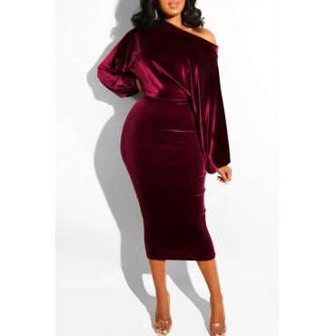 Lovely Elegant Dew Shoulder Wine Red Blending Mid Calf Dress