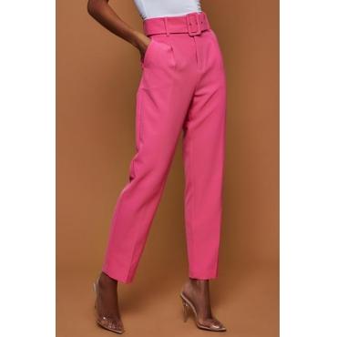 Lovely Trendy Straight Rose Red Blending Pants(With Belt)