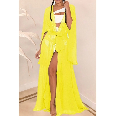Lovely Casual Long Yellow Chiffon CoverUps