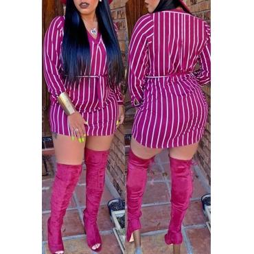 Lovely Casual Striped Purple Cotton Mini Dress