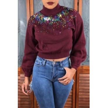 Lovely Casual Patchwork  Wine Red Knitting Hoodies