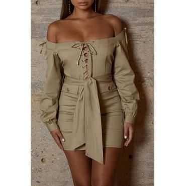 Lovely Trendy Lace-up Khaki Mini Dress