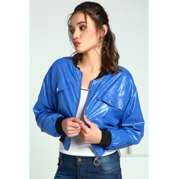 Lovely Casual Zipper Design Blue Jacket