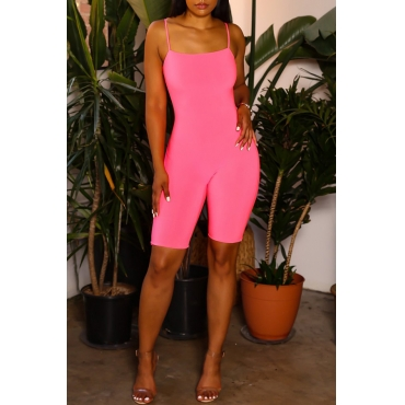 Lovely Chic Skinny Light Pink One-piece Romper
