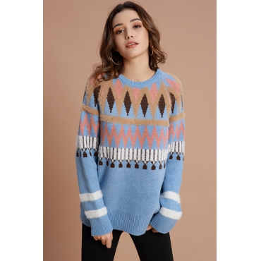 Lovely Casual Geometric Blue Sweaters