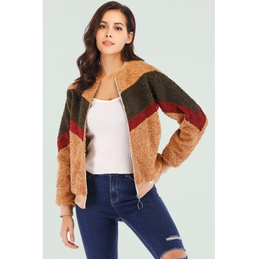 Lovely Casual Patchwork Light Tan Cotton Blends Jacket
