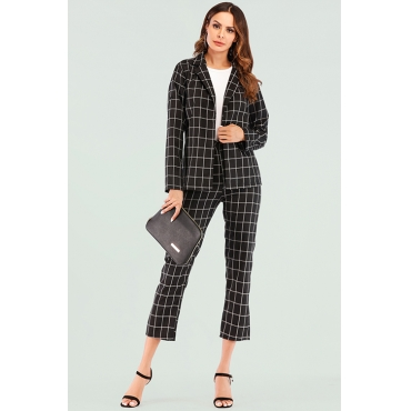 Lovely Casual Grids Printed Black And White Two-piece Pants Set