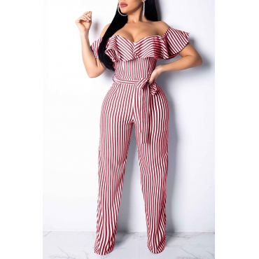 Lovely Trendy Dew Shoulder Striped Red One-piece Jumpsuit (With Belt)