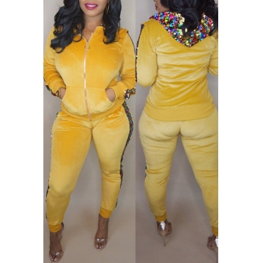 Lovely Casual Sequined Decorative Yellow Two-piece Pants Set