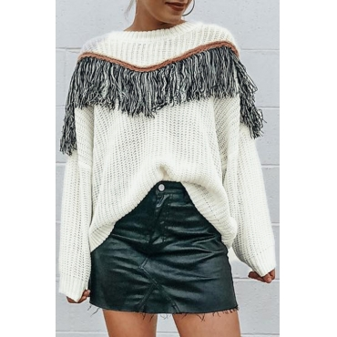 Lovely Casual Tassel Design White Sweaters