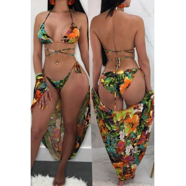 Lovely Sexy Printed Green Two-piece Swimwears(With CoverUp)