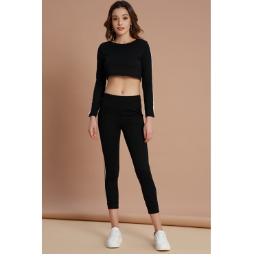 Lovely Sportswear Striped Black Cotton Two-piece Pants Set