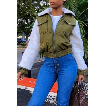 Lovely Sweet Patchwork Army Green Blending Jacket