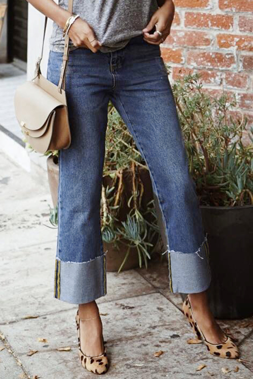 Lovely Casual Patchwork Blue Denim Jeans