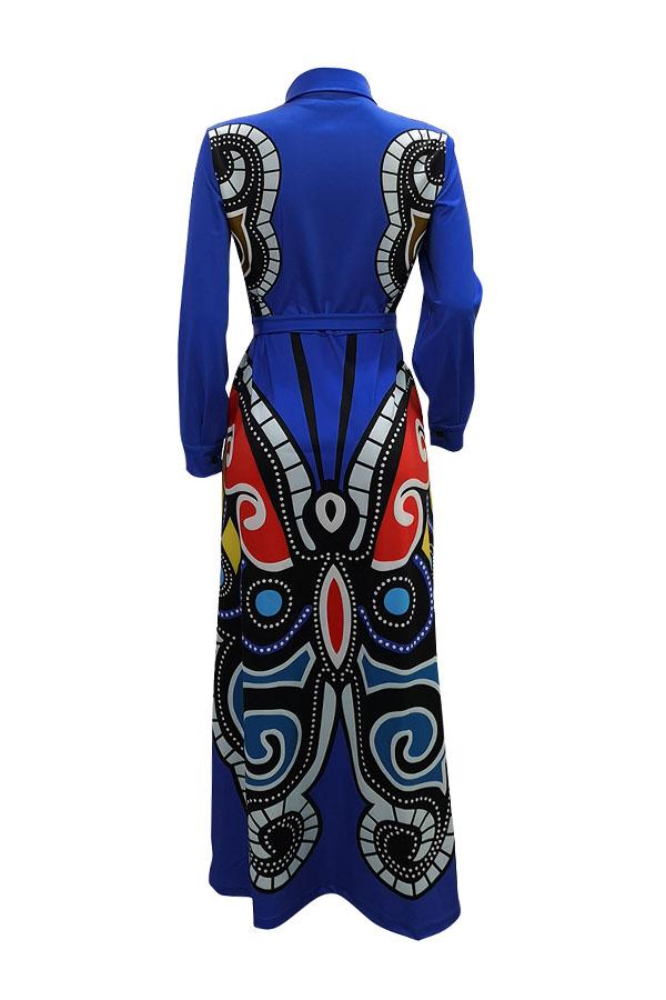 Precioso Vestido Casual Impreso Azul Real Largo Piso