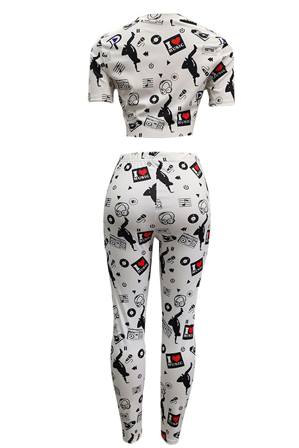 Lovely Casual Printed White Two-piece Pants Set