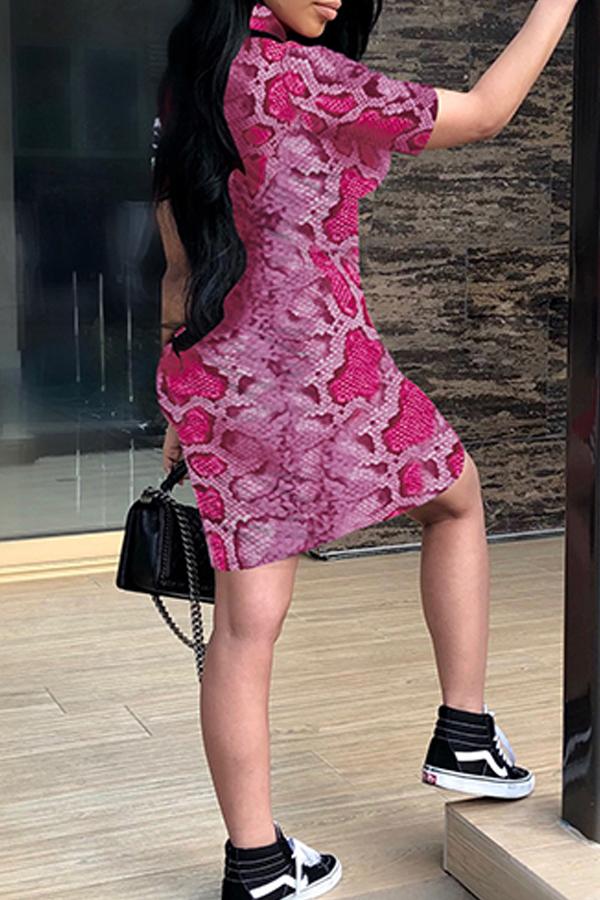 Lovely Casual Snakeskin Printed Dark Pink Mini Dress