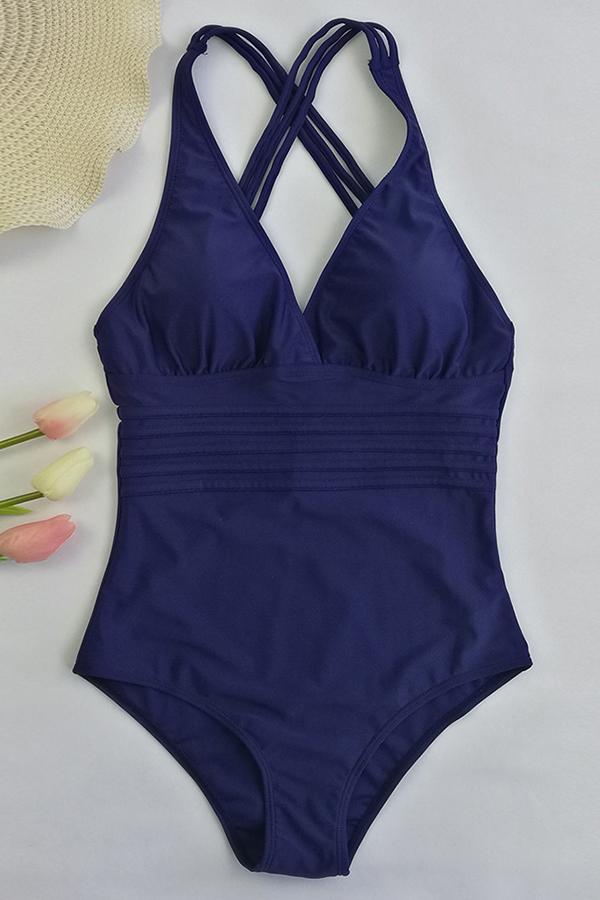 Reizende Reizvolle Rückenfreie Dunkelblaue Einteilige Swimwears