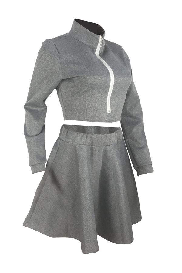 Lovely Trendy Ruffle Design Grey Two-piece Skirt Set
