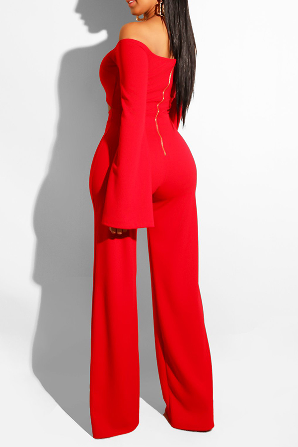 Lovely Trendy Hollowed-out Red One-piece Jumpsuit