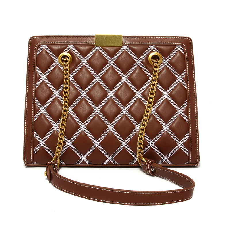 Lovely Vintage Metal Chain Strap  Brown Crossbody Bag