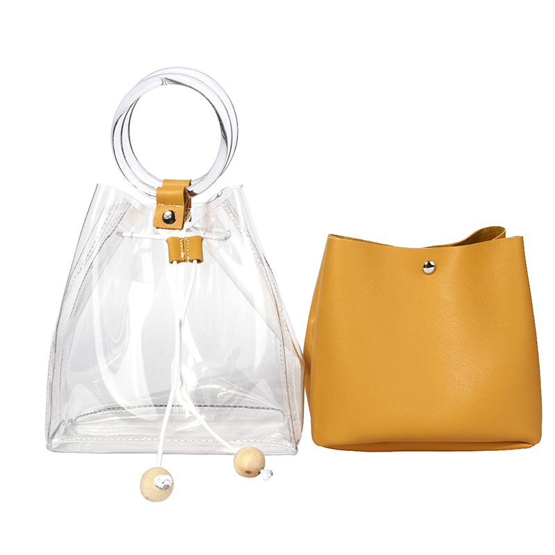 Schöne Beiläufige Durchsichtige Gelbe PVC-Handtaschen